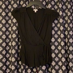 Black deep V Blouse